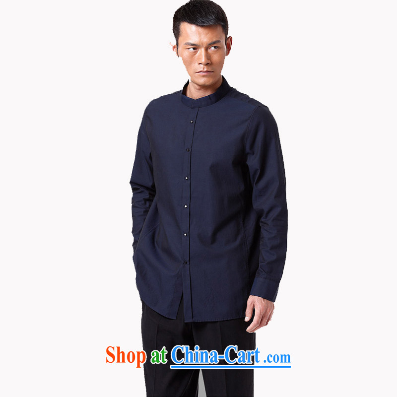 To Kowloon Tong with autumn 2015 New China wind men's cotton long-sleeved T-shirt 15,154 dark blue 48 yards dark blue 50