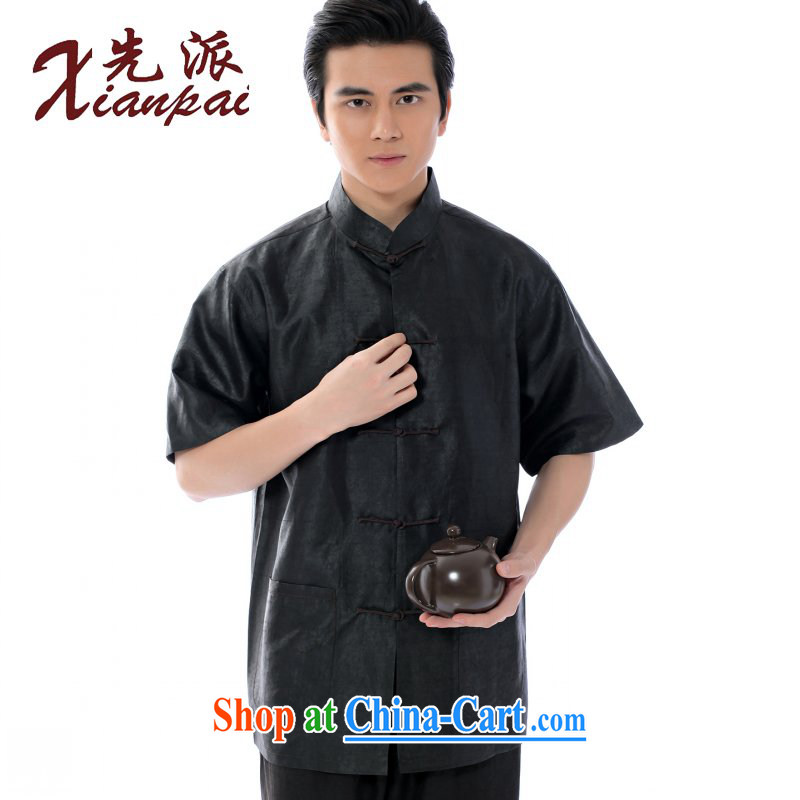 First summer new Chinese summer Chinese men's short-sleeve T-shirt high quality Hong Kong cloud yarn half sleeve sauna silk new Chinese father T-shirt, older-buckle up for Chinese wind fragrant cloud yarn short-sleeve T-shirt 4 XL the 3 day shipping
