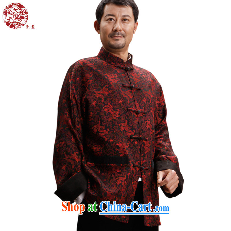 To Kowloon Tong with autumn and winter, China wind men's Silk jacquard jacket 14,374 red 48, red 54