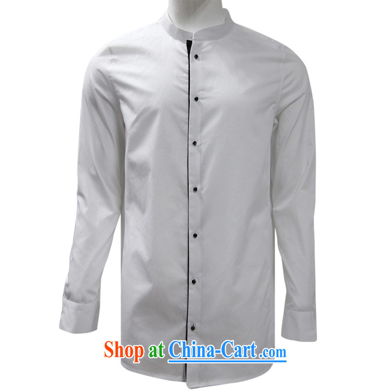 To Kowloon Tong with autumn New China wind men's cotton long-sleeved T-shirt white 15,156 48, white 50
