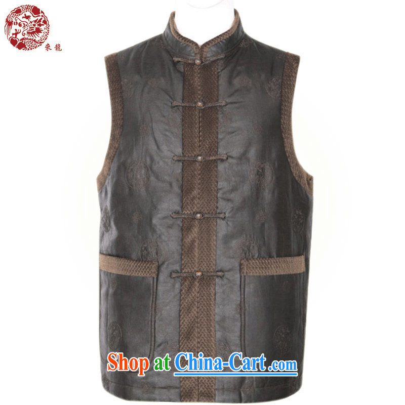 To Kowloon Tong with autumn and winter, China wind men's fragrance cloud yarn-buckle vest the folder 11,021 - 3 deep coffee color 48 yards deep coffee-colored 52