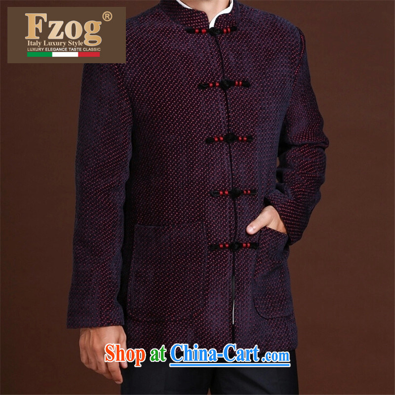 FZOG stamp the casual simplicity men's loose long-sleeved middle-aged men's dot Tang with comfort and breathability red XXL