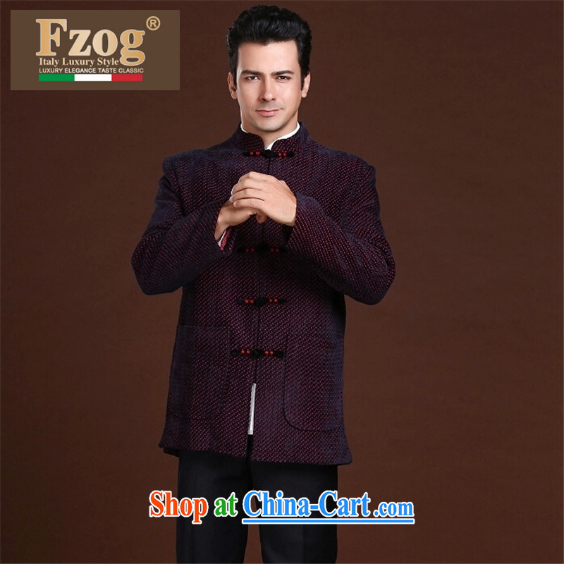 FZOG stamp the casual simplicity and loose long-sleeved middle-aged men's dot Tang is comfortable, breathable red XXL, FZOG, shopping on the Internet