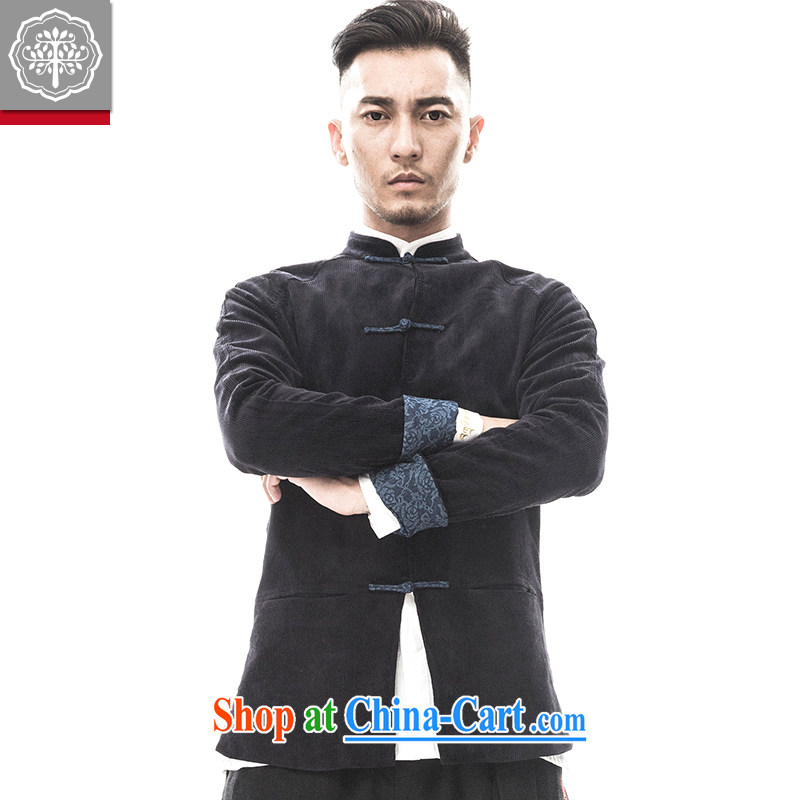 2015 fall/winter new paragraph tree Chinese men's Chinese long-sleeved corduroy quilted coat, improved service and Chinese Wind and Hyun-color 185/XXL