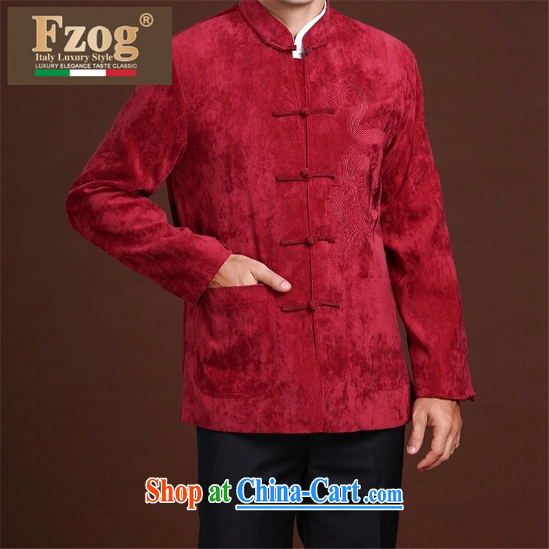 FZOG leisure Simple Chinese wind men's stamp the animal middle-aged men's long-sleeved loose Tang red XXXXL