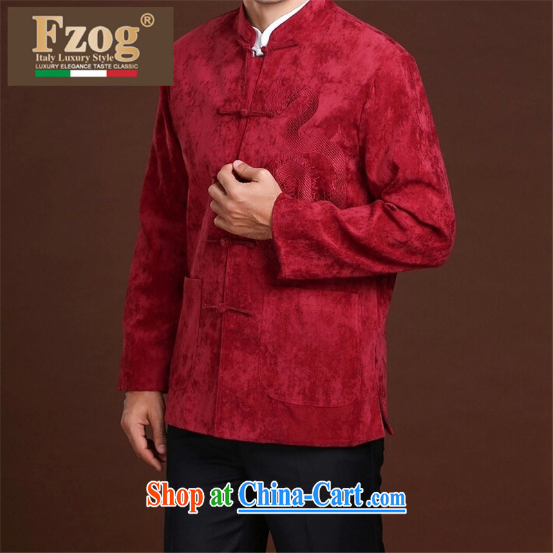 FZOG leisure Simple Chinese Wind and stamp the animal middle-aged men's long-sleeved loose Tang red XXXXL, FZOG, shopping on the Internet