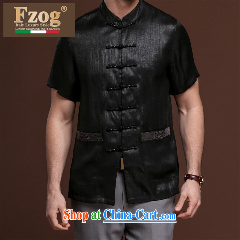 FZOG multi-pocket Solid Color washable men's casual simplicity and middle-aged men's short-sleeved loose Tang with comfortable black XXXXL