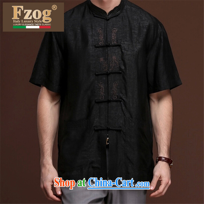 FZOG new embroidered solid color tie-dye men's casual simplicity and middle-aged men's short-sleeved loose Tang with comfortable black XXXXL