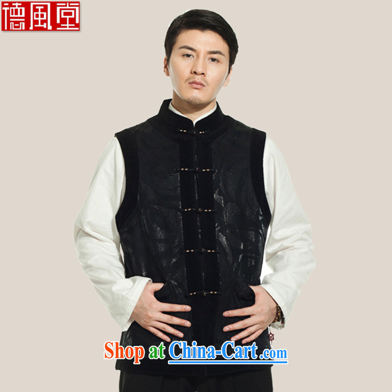 De-Tang Tak original male Tang is a Chinese eschewed winter cotton Ma Folder Bypass line for Chinese clothing black 2 XL