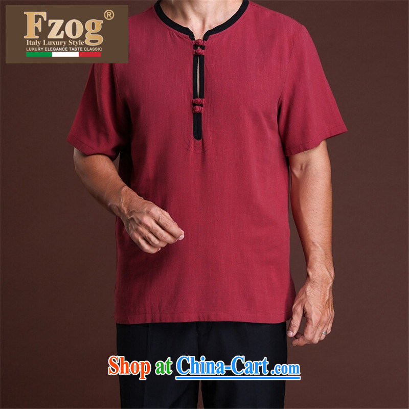 FZOG stylish casual men's loose from HOT DEAL WITH ribbed, older men's solid-colored short-sleeved Tang red XXXXL