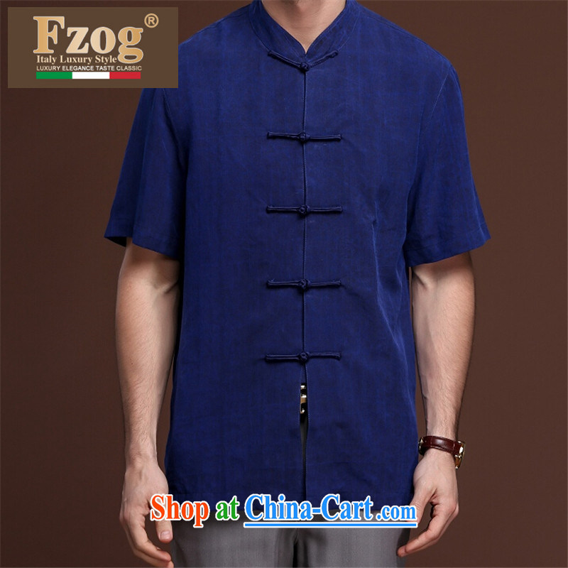 Summer FZOG New Men's leisure in short, middle-aged men's tie-dye solid-colored coating, short-sleeved Tang blue XXXL