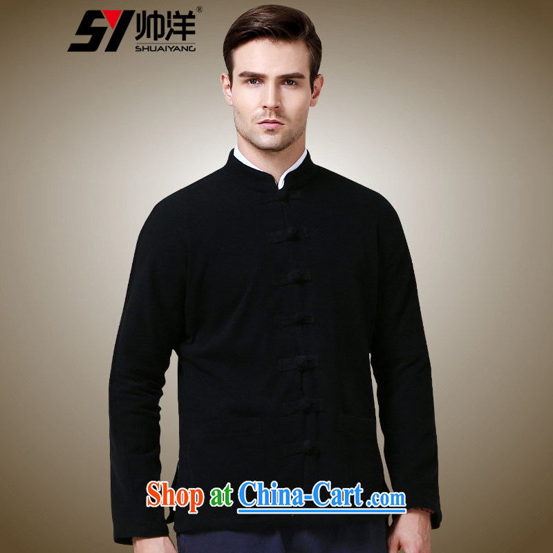 cool ocean 2015 new autumn replace men Tang jackets double-cuff China wind long-sleeved sweater, Chinese collar jacket black 185
