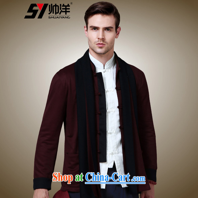 cool ocean 2015 new autumn and the China wind up for the charge-back men's Chinese long-sleeved jacket Chinese jacket knitting wine red 185