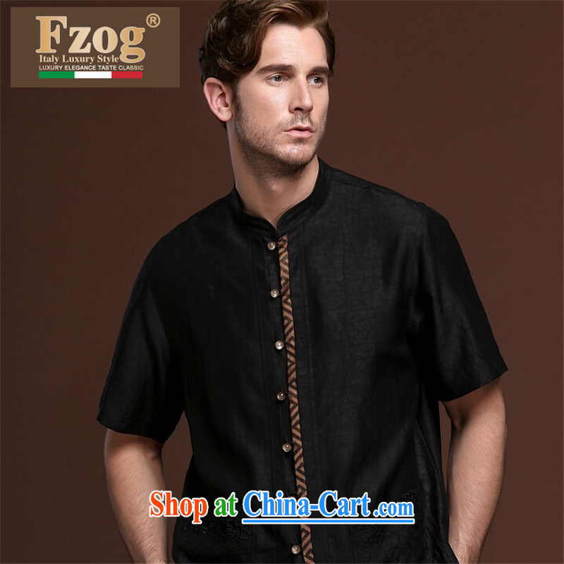 FZOG China wind leisure men's loose-color from hot deal with middle-aged men's short-sleeved Tang with breathable 100 ground black XXXL
