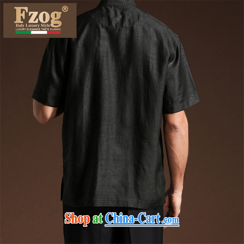Summer FZOG new embroidered Satin men's casual simplicity and middle-aged men's short-sleeved loose Tang is a solid color black XXXXL