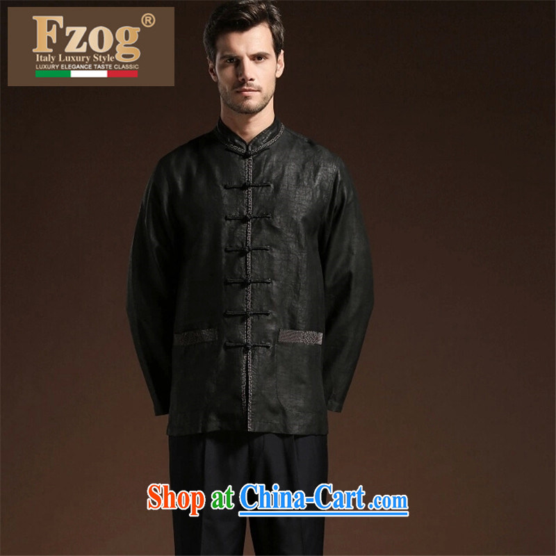 FZOG embroidered Satin Solid Color men's casual simplicity and middle-aged men's short-sleeved loose Tang with breathability and comfort black XXXXL