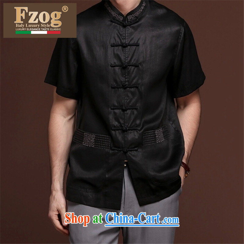 FZOG ribbed cloth embroidered pleated men's middle-aged men and casual simplicity and short-sleeve loose Tang with comfortable black XXXXL