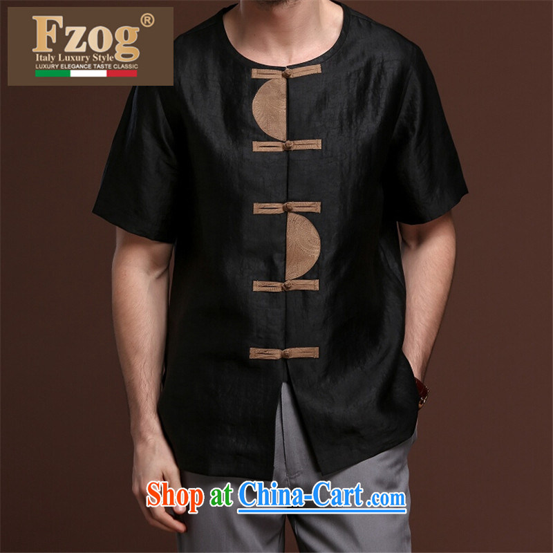 FZOG from HOT DEAL WITH NEW men's casual simplicity and middle-aged men's short-sleeved loose solid-colored Tang with breathable black XXXL