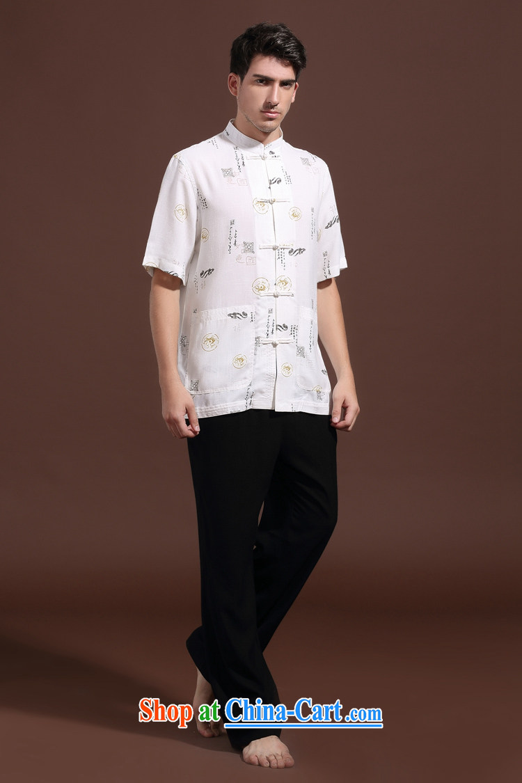 FZOG summer men's new Pure color washable ribbed, middle-aged men's short-sleeved Chinese leisure breathable white XXXL pictures, price, brand platters! Elections are good character, the national distribution, so why buy now enjoy more preferential! Health