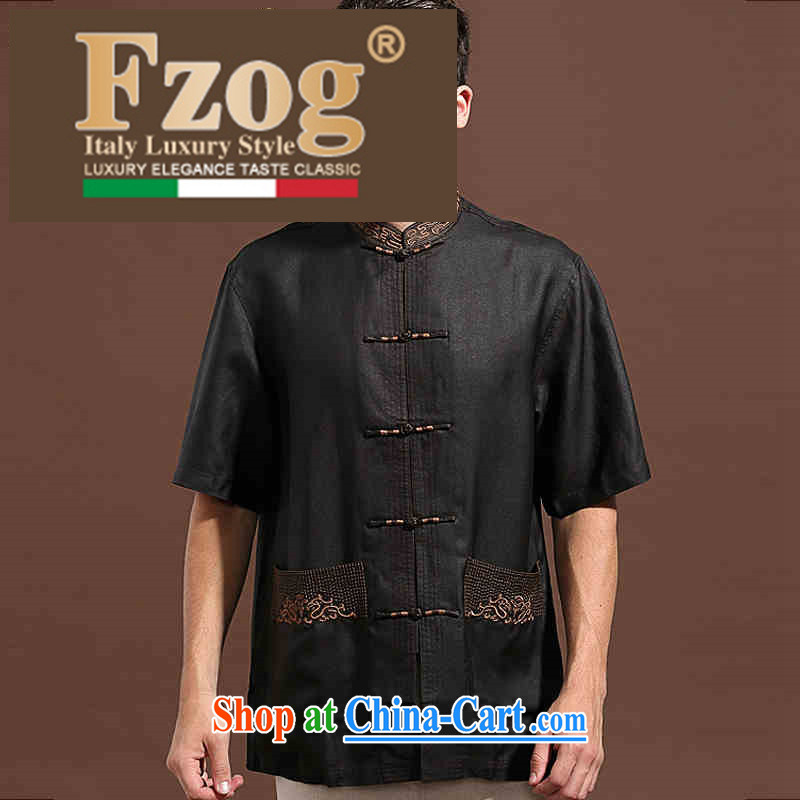 Summer FZOG new leisure simple men's batik Solid Color ribbed the older short-sleeved Tang with breathable black XXXL