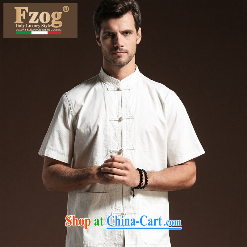 FZOG new ribbed cloth men's solid color satin leisure simple men's short-sleeved Tang with breathable comfort white XXL