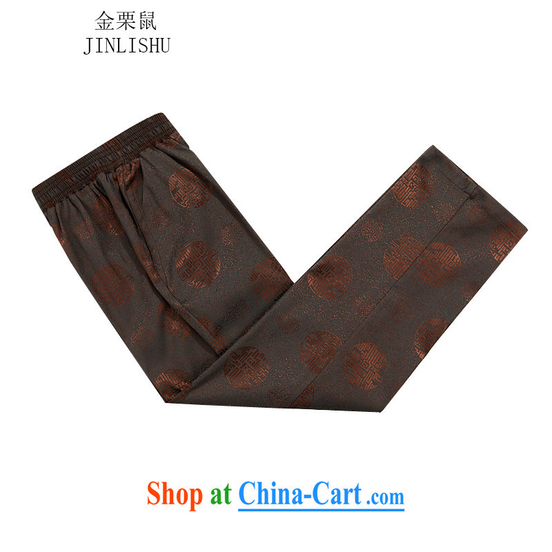 Kim Jong-il chestnut mouse autumn and winter, the Chinese men's long-sleeved men Tang mounted package Tang replace jacket men fall and winter short pants thick brown shirt聽XXXL/190, the chestnut mouse (JINLISHU), online shopping
