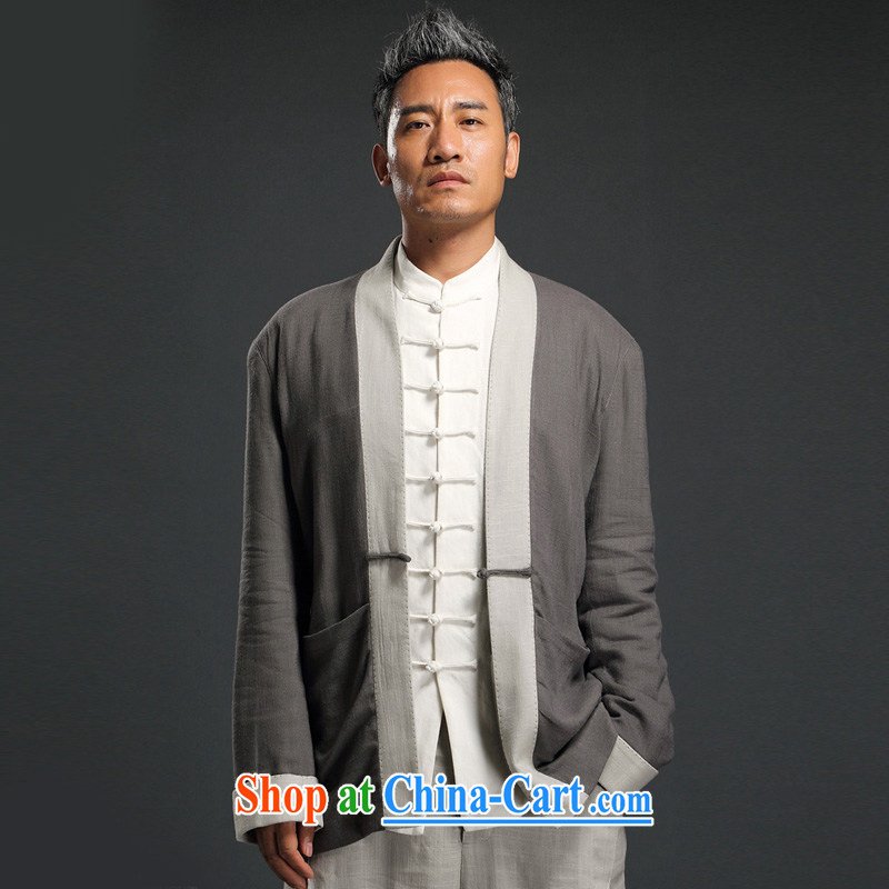 Internationally renowned Chinese wind linen, long-sleeved clothes and long-sleeved shirts on improved Chinese T-shirt Chinese antique Chinese autumn men's gray 3XL/185