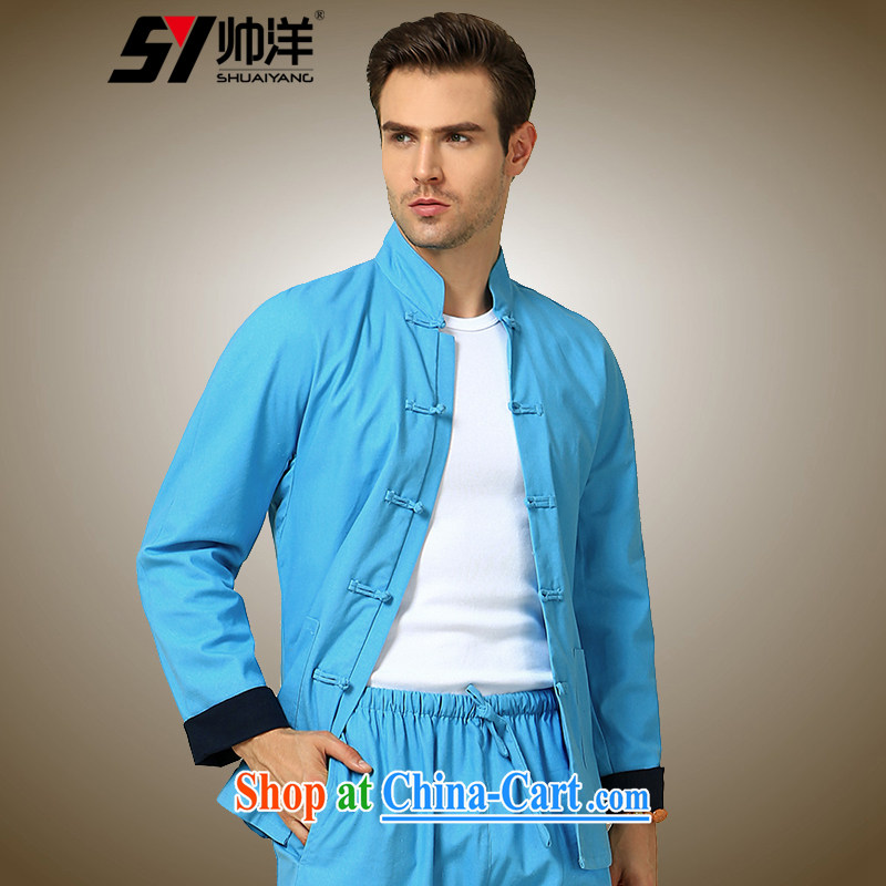 cool ocean autumn 2015 the new double-cuff men's Chinese long-sleeved T-shirt Chinese wind jacket men Chinese men's jacket blue click T-shirt 185