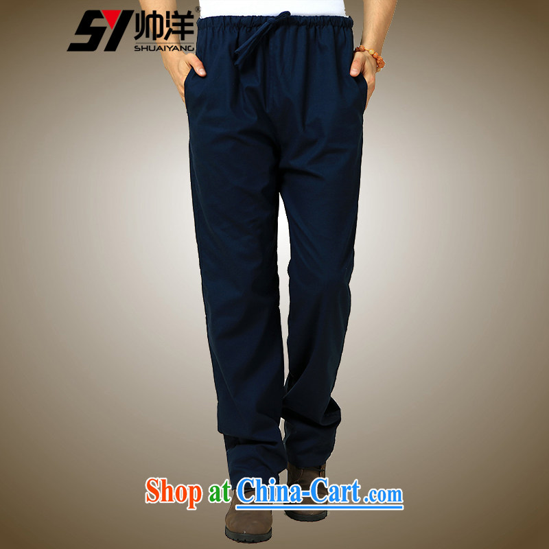 cool ocean autumn 2015 the new Chinese wind men's short pants Chinese trousers cotton the liberal male trousers Navy single pants 185