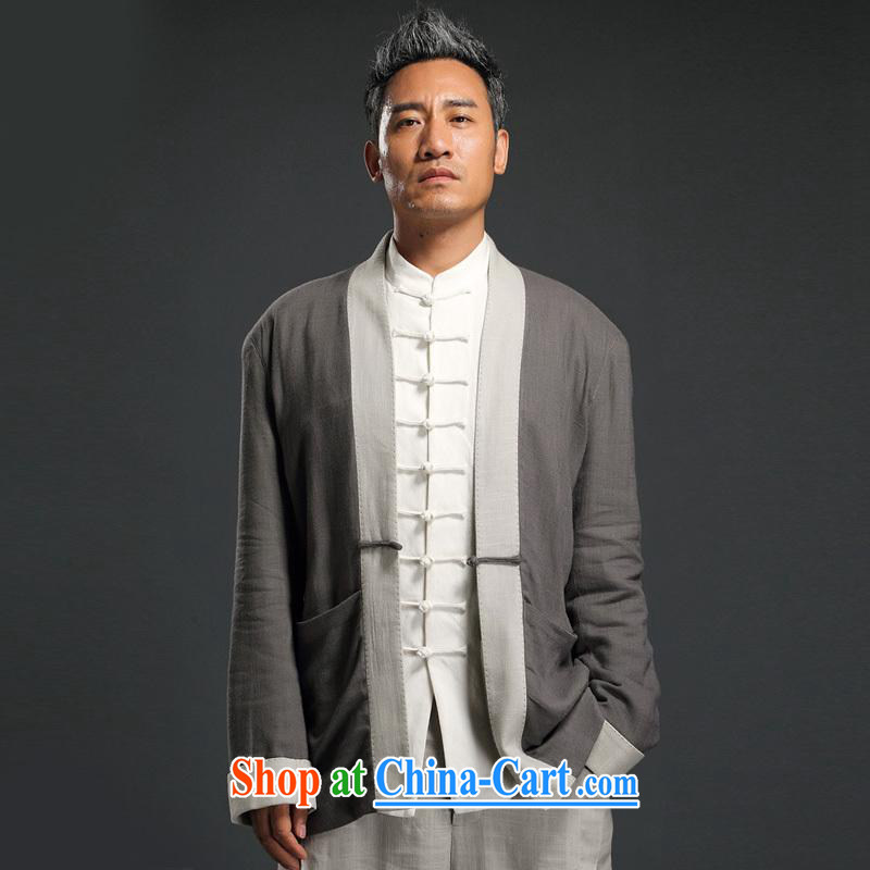 Internationally renowned Chinese wind linen, clothing and long-sleeved T-shirt on improved Chinese T-shirt Chinese antique Chinese autumn male Tea Service gray 3XL