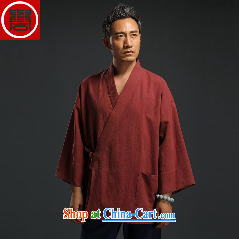 Internationally renowned autumn 2015 China wind linen men's retro-service men and the hard-pressed the T-shirt casual Chinese men's T-shirt tea serving spiritual cynosure serving Orange XXL
