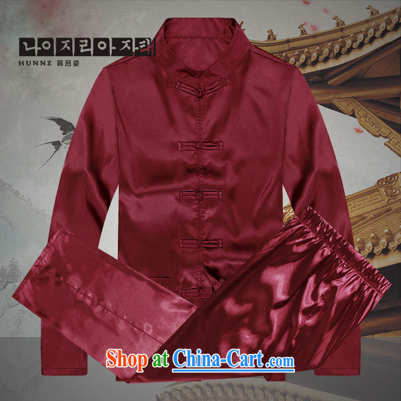 Name HANNIZI, 2015 New China wind men's Tang with long-sleeved set a solid color and the deductions made for casual male, red 190