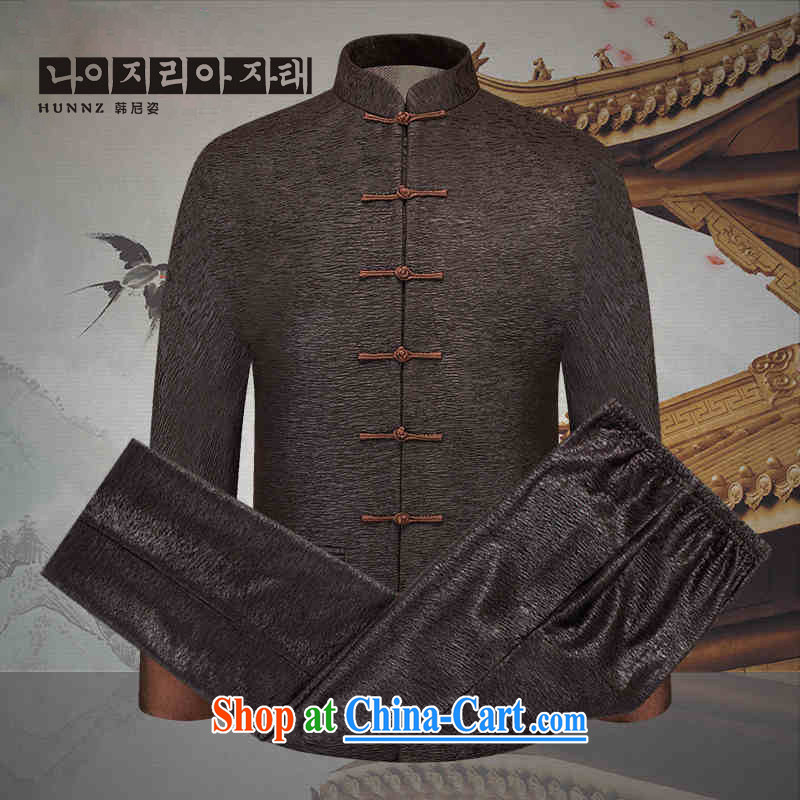 Products HANNIZI Spring and Autumn 2015, the older Chinese men and Kit China wind jacket men's thin clothes thread, brown 190