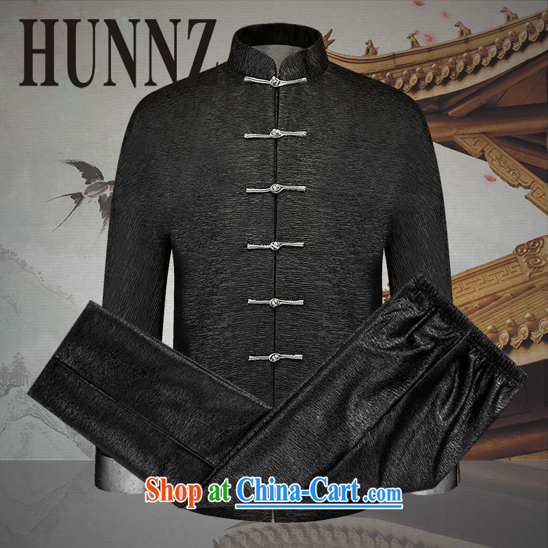 Products HUNNZ Spring and Autumn 2015, the older Chinese men and Kit China wind jacket men's thin clothes thread the black 190