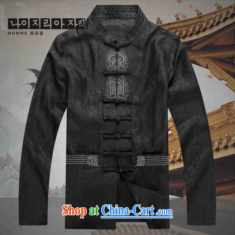 Products HANNIZI 2015 China wind silk damask incense cloud yarn Chinese men long-sleeved T-shirt, older persons smock black XXXXL