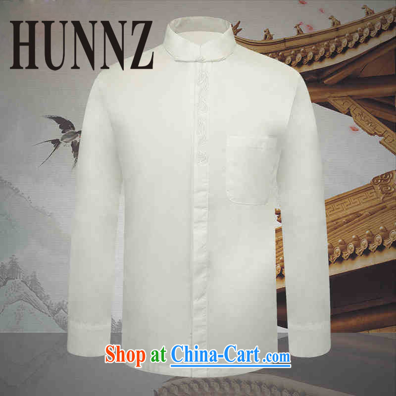 Products HUNNZ New Classic China wind up for the charge-back men Tang with long-sleeved white thin cotton shirts the T-shirt white 190