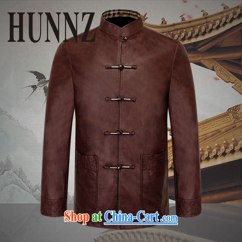 Name HUNNZ, 2015, classic Chinese men's long-sleeved quality leather jacket, old men jacket retro Chinese men and brown 190