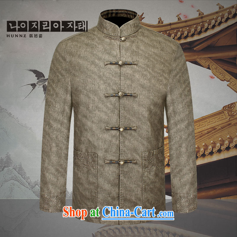 Products HANNIZI 2015, classic Chinese men and long-sleeved quality leather jacket, old men jacket retro Chinese men and khaki-colored 190