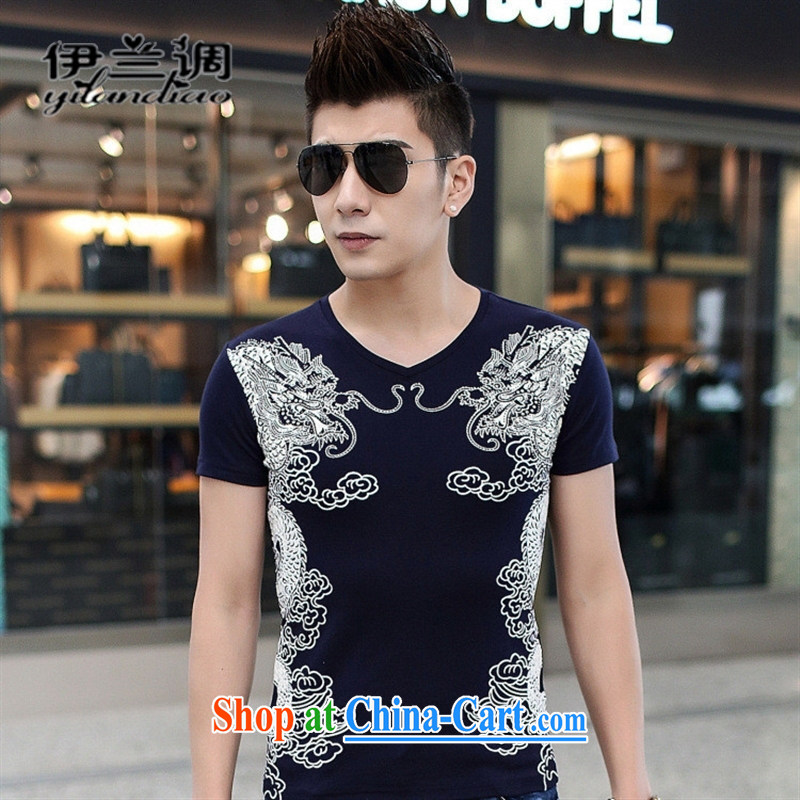 9 month female * China wind stamp men's T-shirt short-sleeved Korean beauty and leisure T ? men's 2015 spring and summer load V collar red XL