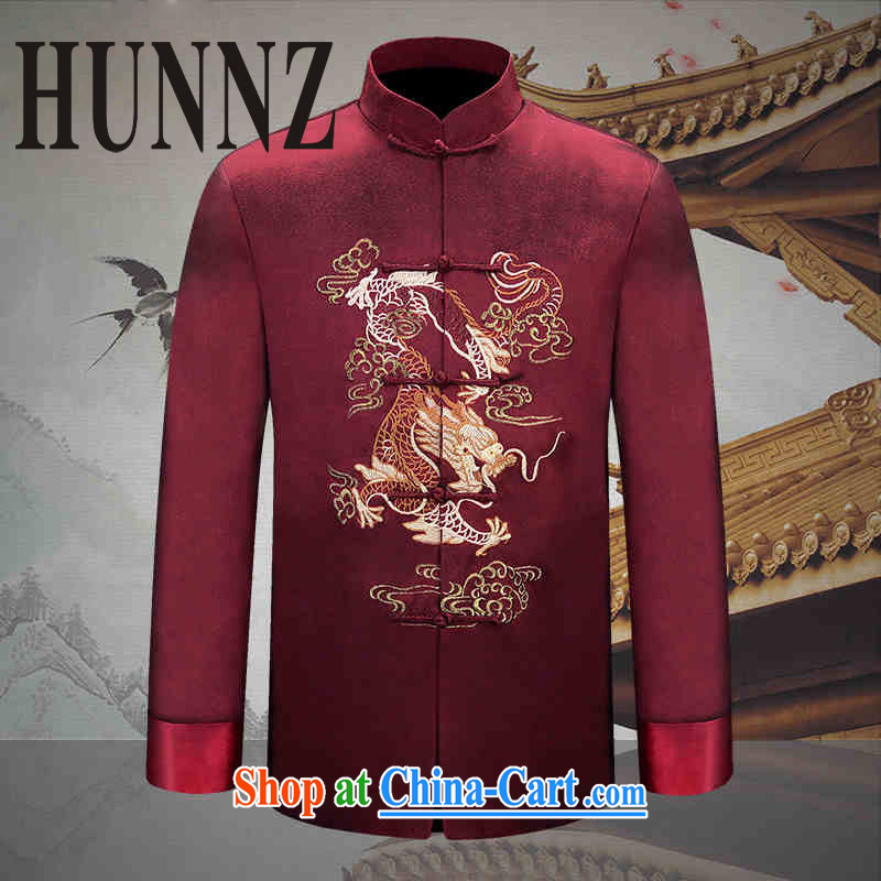 Name HUNNZ, 2015 new manual men's Chinese long-sleeved Chinese wind men's Su-men's jackets Chinese Dress dark red 170