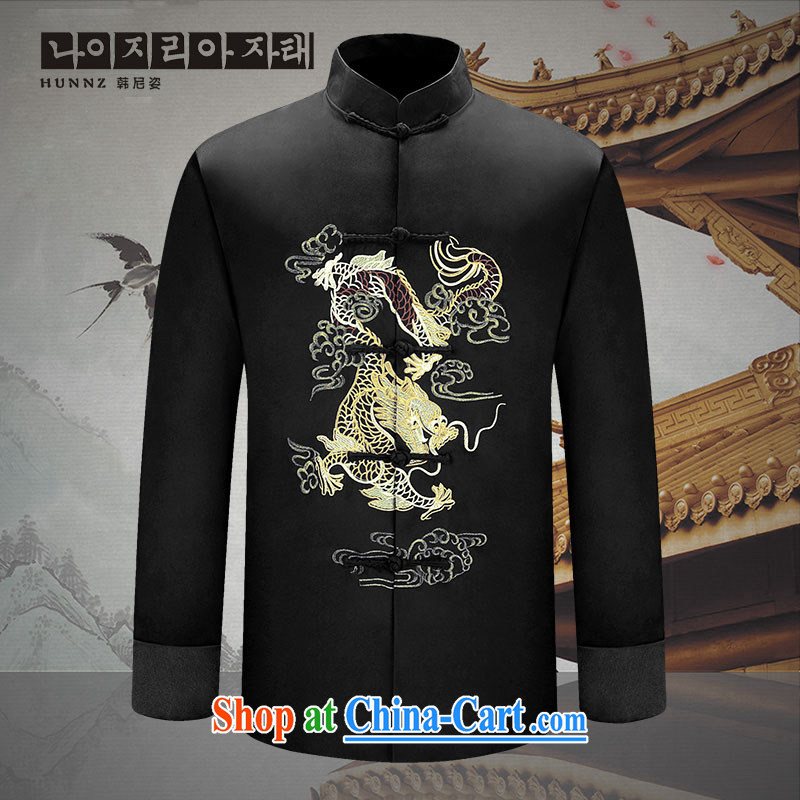 Name HANNIZI, 2015 new manual men's Chinese long-sleeved Chinese wind men's Su-men's jackets Chinese Dress black 170