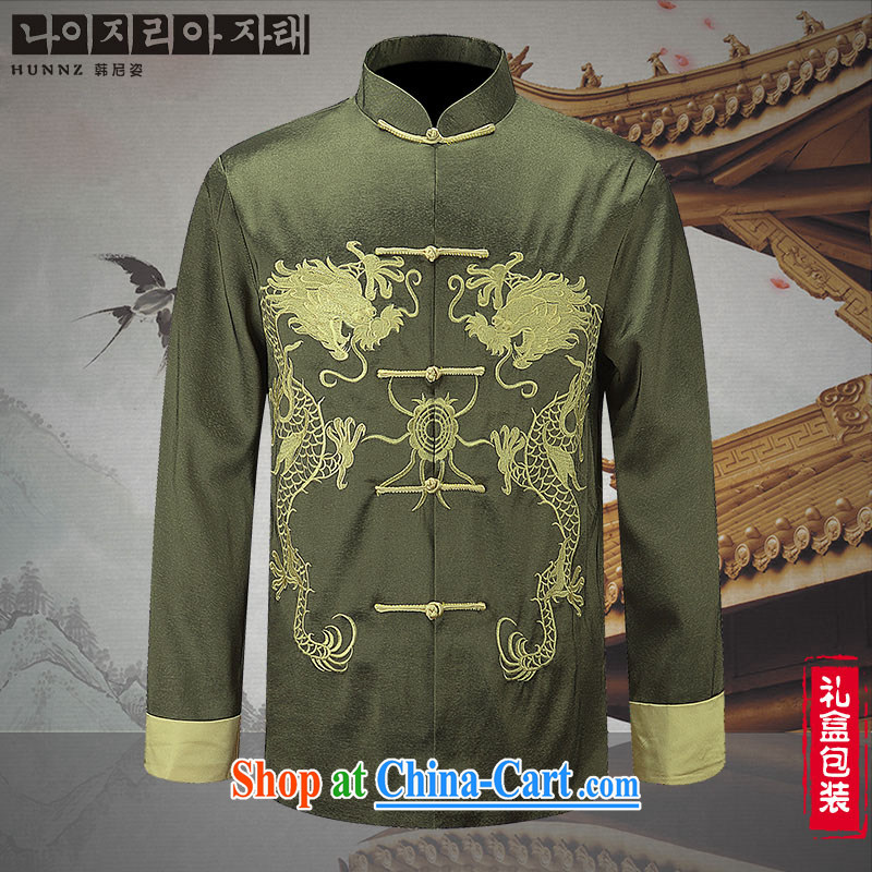 Name HANNIZI, new China wind men's men's Chinese long-sleeved Chinese uniforms jacket long smock embroidered green 190