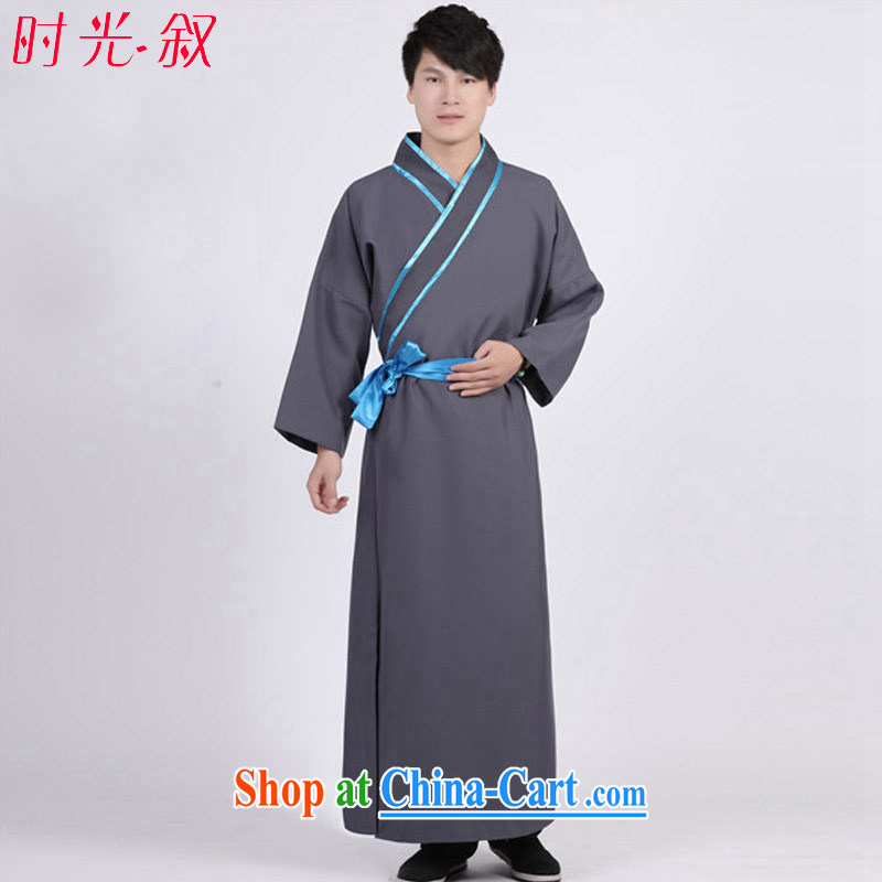 Time his new men costumed Swordsman costumes knights errant clothing Chinese clothing, ancient scholar male Samurai costumes gray adult,