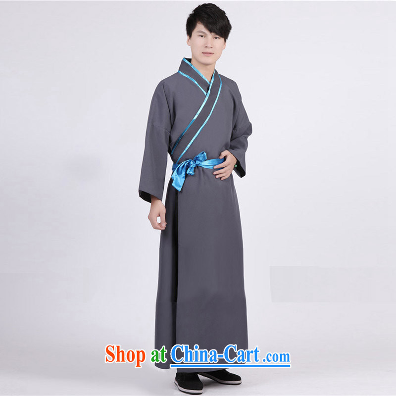 Time his new men costumed Swordsman costumes knights errant clothing Chinese clothing, ancient scholar male Samurai costumes gray adult, time, and shopping on the Internet