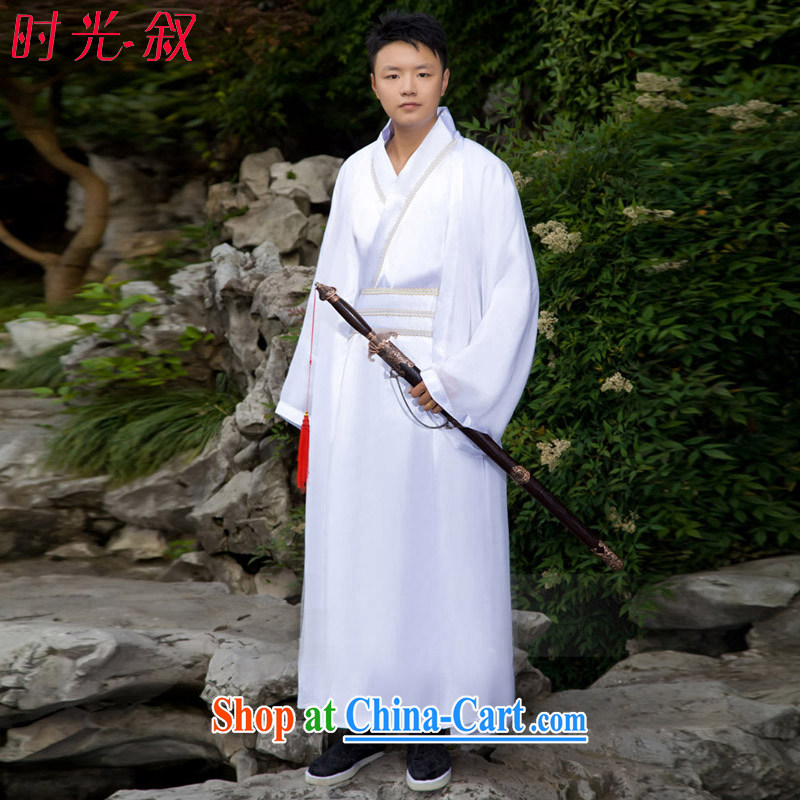 Time SYRIAN ARAB costumes clothing men's Chinese Han-track civil聽Han Palace clothing Han Dynasty Han Dynasty Manchu emperor clothing Prince clothing聽white adult,