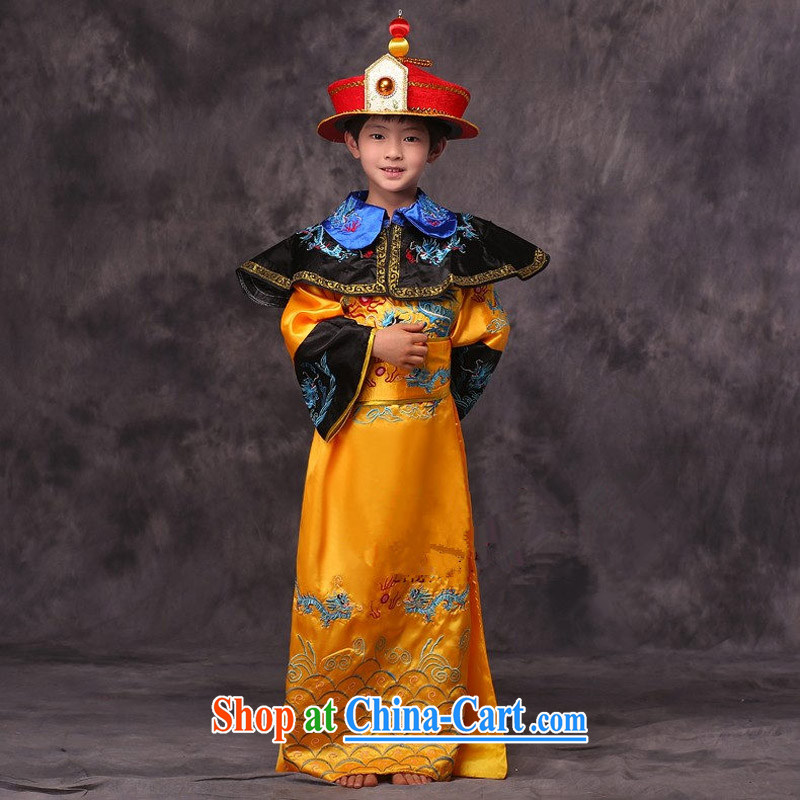 Time Syrian children during the Qing Dynasty king with Crown Prince Emperor dragon robe Qin toward the Spring and Autumn and Warring States Period serving minister photo building photography stage drama costumes yellow 150 CM