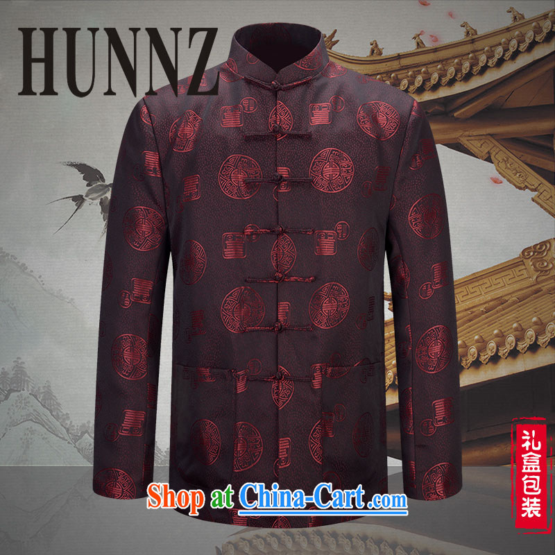 Products HUNNZ new, older persons in Chinese men's long-sleeved Life field Chinese Dress Chinese wind couples jacket dark red 190 to the cotton