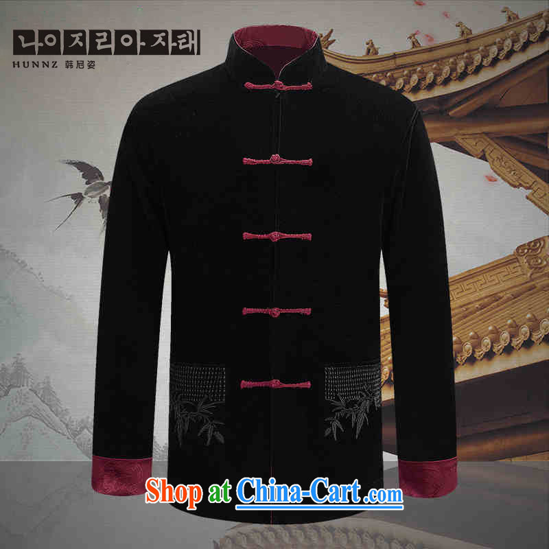 Products HANNIZI new corduroy older persons in casual Chinese classical Chinese wind long-sleeved men's two-sided wearing jacket and black and red double-sided 190