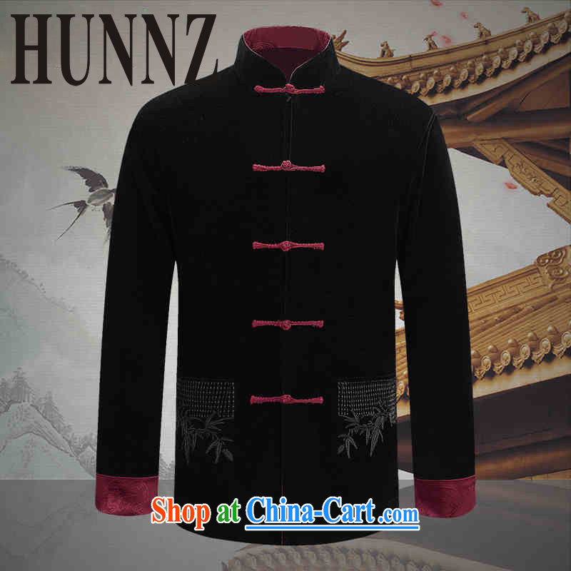 Products HUNNZ new corduroy older persons in casual Chinese classical Chinese wind long-sleeved men's two-sided wearing jacket and black and red double-sided 190