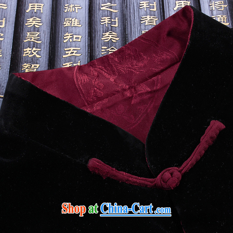 Products HUNNZ new corduroy older persons in casual Chinese classical Chinese style long-sleeved men's two-sided wearing jacket and black and red double-sided 190, HUNNZ, shopping on the Internet